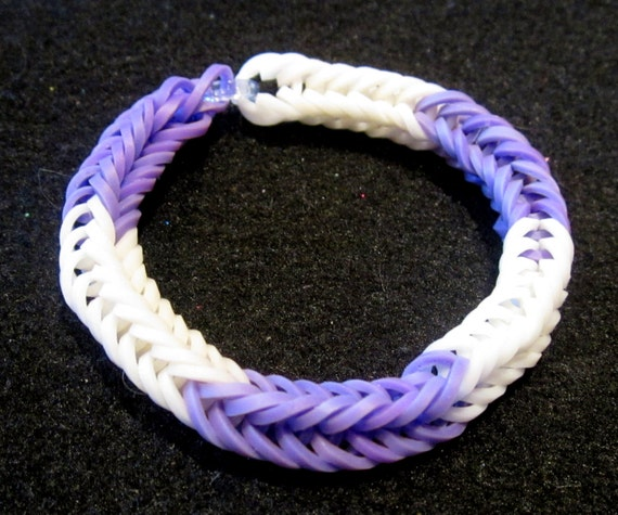 Items Similar To Purple And White Fishtail Rainbow Loom