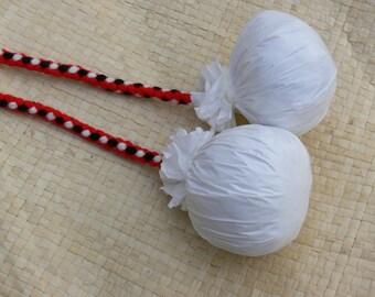 HANDMADE Maori poi balls - Red, black & white