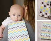 """Three custom created TRIPLE layered flannel burp cloths in your choice of fabric. They measure approximately 8"""" wide by 21"""" long."""