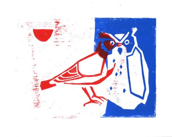 red and blue woodcut - lark and an owl  (A5)