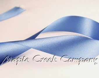 "5 yards Smoke Blue Double Face Satin Ribbon, 1-1/2"" x 5 yards"