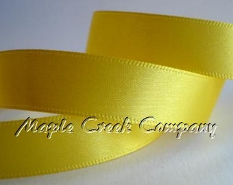 "Yellow Daffodil Double Face Satin Ribbon, 5 Widths Available: 1 1/2"", 7/8"", 5/8"", 3/8"", 1/4"""