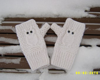 Owl fingerless gloves Owl fingerless mittens White fingerless gloves with black pastes
