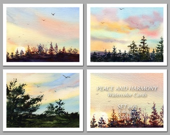 Peace and Harmony -  Set of 6 NOTE CARDS - Watercolor Paintings by Linda Henry (NCWC051)