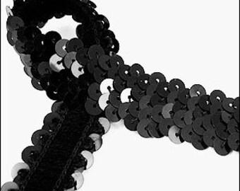 Glossy black elastic sequin trim. 22mm. JR03243