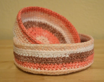 100% Cotton Crochet Nesting Bowls, Jewelry Keys Hair Accessories