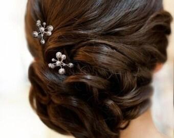 3Pcs Handmade Bridal White Swarovski pearls  hair pins