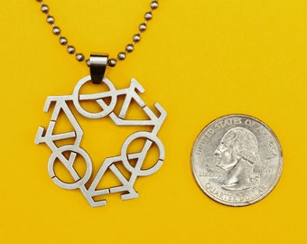 Triple Bicycle Pendant, Stainless Steel Matte Finish Charm -  Handmade rubber cord  and Stainless Steel chain necklace included