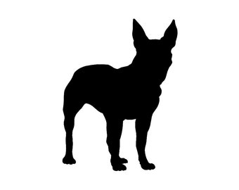 Boston Terrier v2 Dog Silhouette Custom Die Cut Vinyl Decal Sticker - Choose your Color and Size