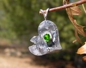 Chrome Diopside, 3.5 mm Adoption Pendant in .999 fine silver & Sterling SIlver