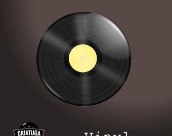 VINYL RECORD      badge / pinback button -  several sizes