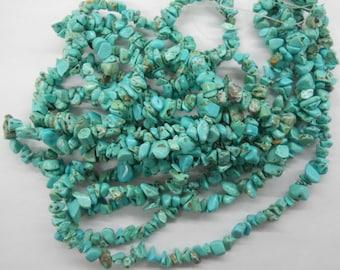 "turquoise chip stone, small sized 5-8mm nugget stone, irregular stone. 32"" long."