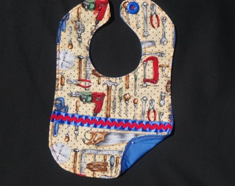Toddler Boy Bib /Tool Time 1 / 10 x 14 / boy/ tools / blue / red/ black / brown / hammer / saw/ wrench