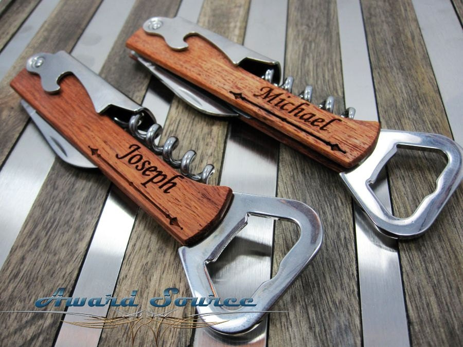 groomsman wedding gift wine bottle opener free engraving. Black Bedroom Furniture Sets. Home Design Ideas
