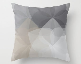 Geometric Flower Pillow Cover - Grey Taupe - Abstract Flower Throw Pillow - Neutral Colors - Accent Pillow - Modern Home Decor