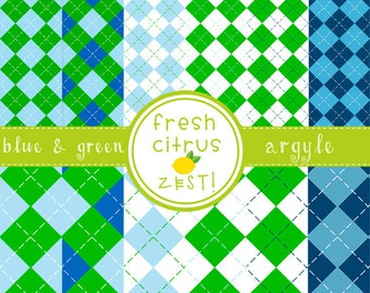 Argyle Digital Paper Blue and Green