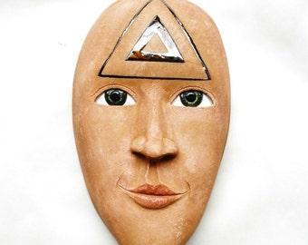 Trinity - Ceramic Wall Mask Sculpture, One Of A Kind Clay Face