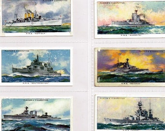 British Cigarette Card Set (50 Cards) - Modern Naval Craft  Issued in 1939 by John Players Cigarettes. Warships of the World.