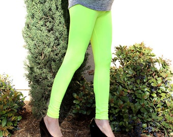 Neon Yellow Legging Tights Winter Pants Leg Warmer Fashion - one size fits most