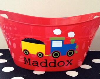 Personalized Boy Train Storage Tub