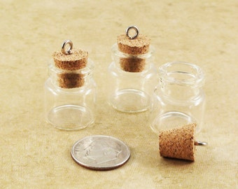 Glass Bottle Pendants with Cork Stopper Fillable 20mm Qty 3