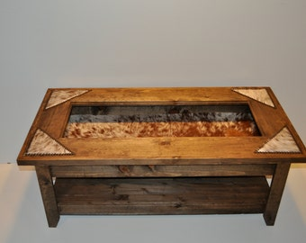 Display Coffee Table with cowhide & nailheads (Made To Order)