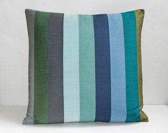 "9 Stripe Silk Throw Pillow - Blue Green & Gray  20"" x 20"""