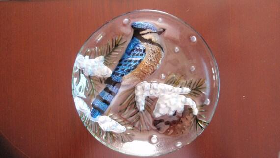 Vintage Glass 3D Blue Jay Bird Plate 1960 era Collectible Home Decor  L87