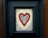 Embroidery and Quited Heart Art, Original Fiber Art, Heart Art, Rustic, Fiber Art, Framed Quilted Art, Folk Art