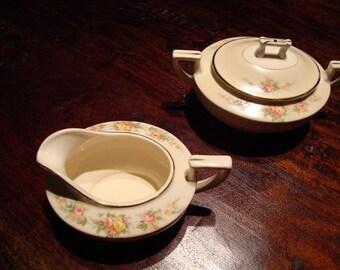 Homer Laughlin  Antique China Sugar Bowl and Creamer Set