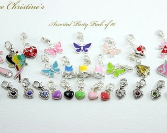 Alexandra - Silver Plated Clip-On Charms, Party Pack of 10, Chosen from the Assorted Themes - CZX080101