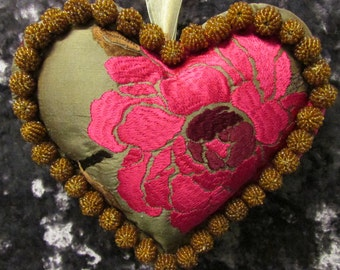 Lush and Opulent Pure silk embroidered lavender filled heart