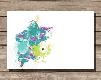 Disney poster Pixar poster Monsters Inc movie poster art print disney poster movie art fan art pixar movie poster