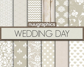 """Wedding digital paper: """"WEDDING DAY"""" with bridal papers in white and gray colors, chevron, hearts, damask, wood, linen, dots, floral"""