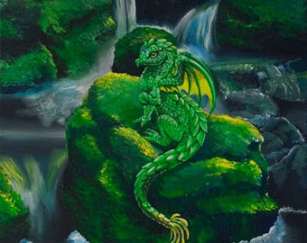 Things I Saw While Hiking:  Print of a whimsical painting of a dragon on a mossy rock in a stream.