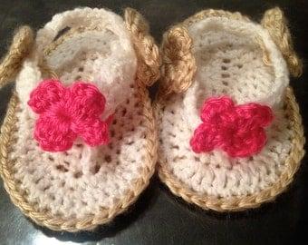Girl Flip Flops Crochet Baby Booties
