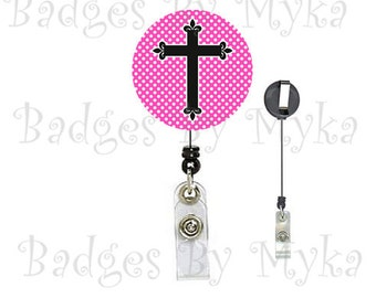 Retractable ID Badge Holder - Cross