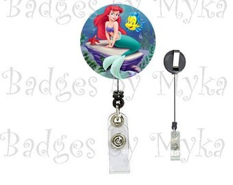 Retractable ID Badge Holder -Little Mermaid (Arial)