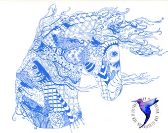 Zentangle Horse Screen-Print - black or blue