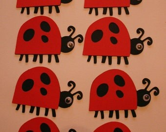 8pc  2 inch black and red lady bug die cuts, cards, scrapbooking, spring, party