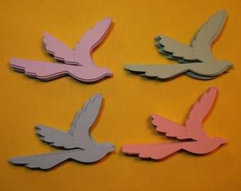 100 2.5 inch dove birds in pastel colors 25 of each purple, blue, pink, green, cards, easter, scrapbooking weddings,