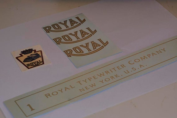 Royal model 1 or 5 Flatbet Typewriter Water Slide Decal set
