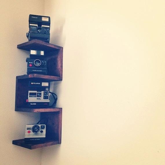 items similar to wall mounted corner shelf on etsy. Black Bedroom Furniture Sets. Home Design Ideas