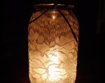 Rustic Burlap and Lace Mason Jar Luminary Lantern
