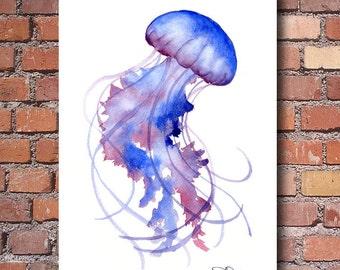 Jellyfish Art Print - Watercolor - Abstract Painting - Wall Decor