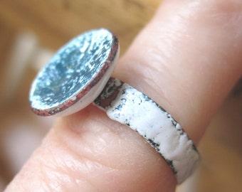 Little Copper Enameled Ring.  Size 5 1/2.