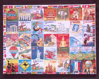"""World Canvas. Serviette decoupage on canvas. Different countries of world in design. Size: 16"""" x 12"""" (40cm x 30cm). Ideal for Home Decor"""