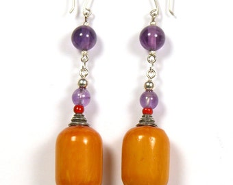 One of a kind amethyst and copal resin earrings.