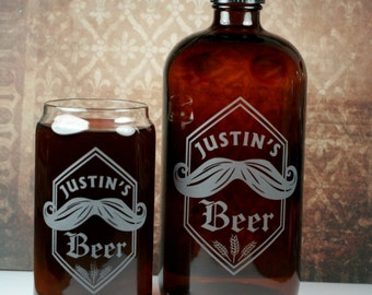 Custom Mustache and wheat 32oz growlette and 16oz can glass.  Homebrew, Beer, Beer Gift, , Beer Glass, Beer Tools , Beer Glass, Beer Tools