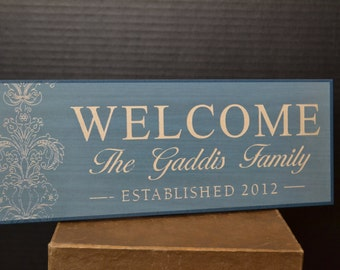 Welcome Plaque Personalized 12x4""